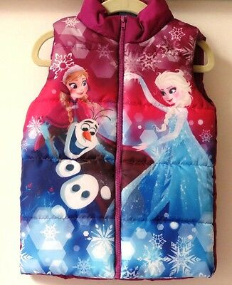 NEW Disney FROZEN Toddler Girls' Puffer Vest Size 3T Olaf Anna Elsa