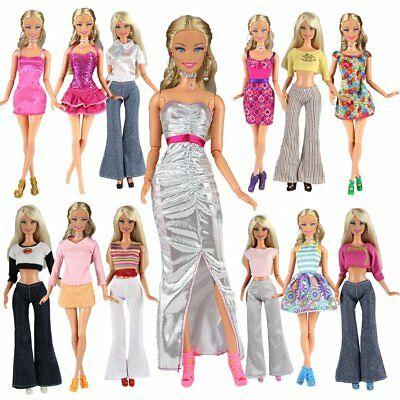 Lot 20 = 10 Set Fashion Handmade Clothes Outfit + 10 Pairs Shoes For Doll Toy