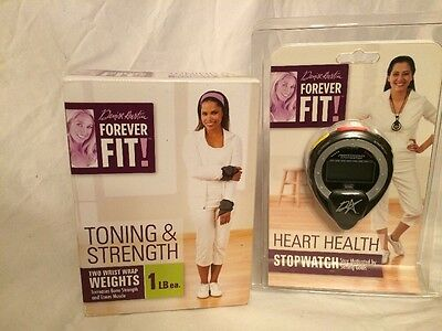 Exercise Forever Fit Denise Austin 1lb Wrist Weights Heart Health Stopwatch