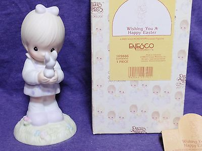 Wishing You A Happy Easter Precious Moments girl with bunny figurine #109886