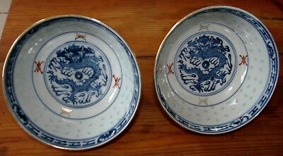 2 Finely Painted Chinese Republic Porcelain Rice Grain Bowls Dragons