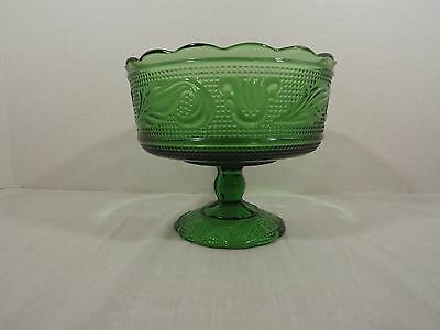 Vintage E.O. Brody Co. Footed Green Glass Dish/Bowl M6000 Cleveland OH USA