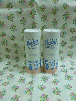 Vintage Avon Talc 2 x Baby Powder 100g each *Sealed