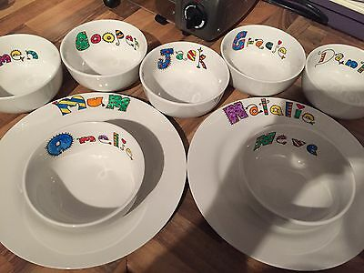 Hand painted Personalised 4 Piece Dinner Set Choice Of Designs