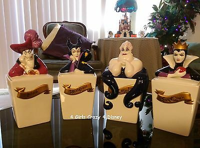 DISNEY VILLAINS RARE 4 piece canister set Retired New in Box Not used Mint con.
