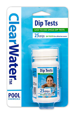Chlorine Dip Test Clearwater 25 x Dip Test Strips Swimming-pool water Tester