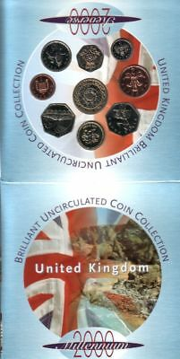 2000 Brilliant Uncirculated Coin Set Collection, Royal Mint 9 Coin Pack.