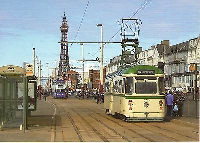 Unused Postcard - Blackpool Tram- Towing Railcoach 679 At Manchester Square 2004