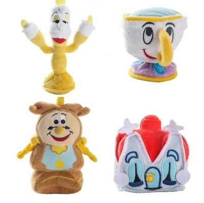Bella Y Bestia Set 4 Peluches: Chip, Lumiere, Din Don Y Casa