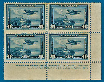 Canada, 1938, 6 Cents x Corner 4, Airmail, Seaplane, MLH