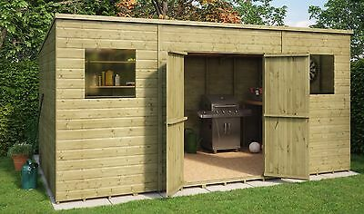 14 x 8 Pent Pressure Treated Wooden Garden Shed With Central Double Door
