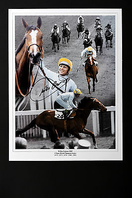 WILLIE CARSON HORSE RACING HAND SIGNED PHOTO AUTHENTIC GENUINE + COA - 16x12