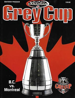 CFL Grey Cup 2000 Final BC Lions - Montreal Alouettes Official Program