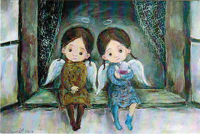 TWO GIRLS - TWO ANGELS Modern Russian postcard by N.Chakvetadze