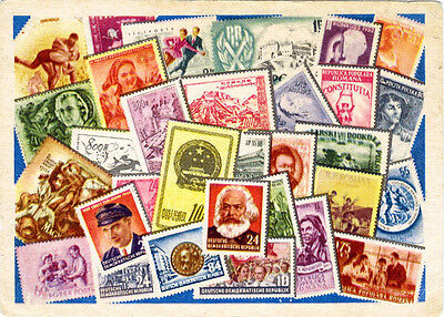 1956 Soviet Russian postcard COLLECT STAMPS OF COUNTRIES OF PEOPLE'S DEMOCRACY!