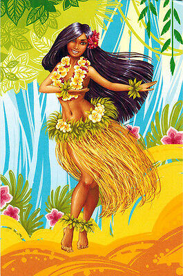 Hawaiian Dancer  Modern Russian postcard