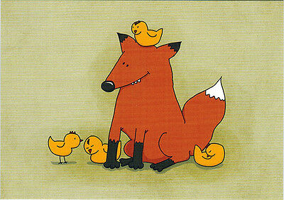 FOX AND CHICKS! Good time together! Modern Russian postcard
