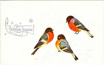1988 Russian embossed folding NEW YEAR postcard ROBINS