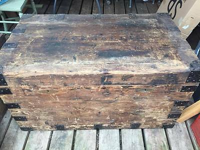 Large Antique Dome Top Travel Trunk Chest Steamer Ship