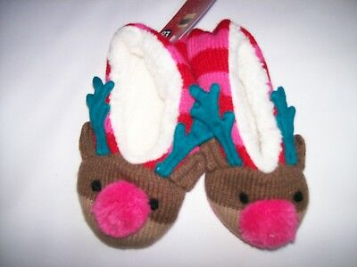 Bnwt Boys / Girls Ex M&S Christmas Reindeer Slipper Socks Age 3-6 Years Only