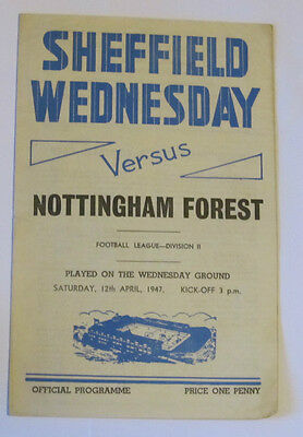 1946/47 Sheffield Weds v Notts/Nottingham Forest.