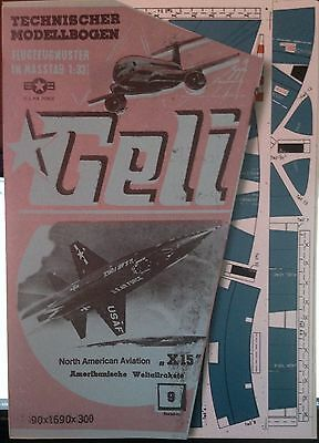 "GELI Modellbogen Nr. 9 North American Aviation  ""X 15""  Weltallrakete"