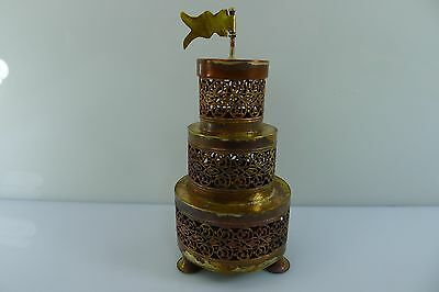 A VINTAGE ALL BRASS /BRONZE 12.4 cm. TALL JUDAICA BESAMIM SPICE TOWER