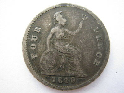 1849 Groat or Fourpence broken 8 NF distorted flan