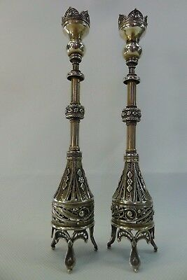 very beautiful silver filigree rare antique/vintage pair of candle stick holders