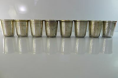 Antique Lot Of Eight Austria Hallmarked Silver Small Goblets/cups