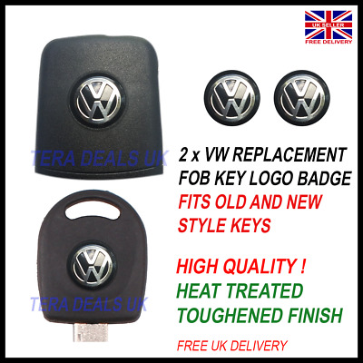 2x VW REMOTE KEY FOB BLACK LOGO/BADGE/ EMBLEM/ STICKER 14MM BLACK SILVER