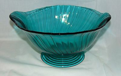 "Jeannette SWIRL *ULTRAMARINE BLUE *10"" FOOTED CLOSED HANDLE BOWL*"