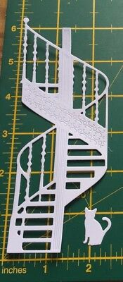 5 die cuts spiral staircase and cat