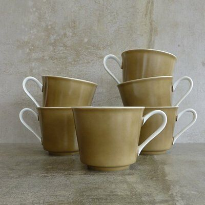 6 Mid Century Noritake RC Teacups Olive and White 1960s Made in Japan Vintage