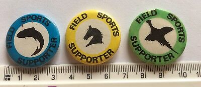 3x Field Sports Supporter Pin Badges (PLEASE NOTE CONDITION) Game Pheasant Horse