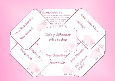 Baby Shower Charades - Party Game - Boy Blue, Girl Pink, Unisex Yellow,