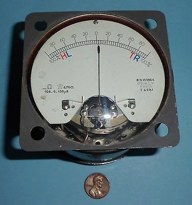 """Vintage Pekly Paris 3.5"""" Panel Meter - Zero in the Middle 100µA/0/+100µA"""