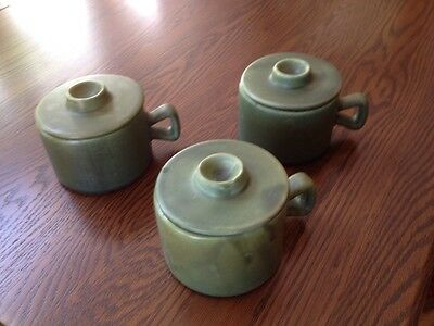 Quebec Pottery Mugs with Lids Vintage 369