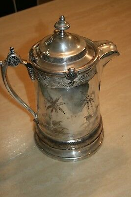 Vintage Reed & Barton 1872 Silver Plated Ice Water Pitcher Porcelain Insert