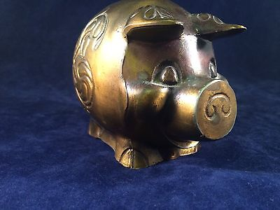 Vintage Brass Piggy Bank With Floral Engraving Accents West Jefferson Bank