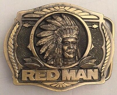 New - 1988 Vintage Red Man Brass Belt Buckle -The Great American Buckle Company