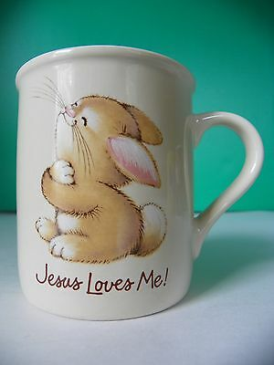 "Hallmark ""Jesus Loves Me"" bunny rabbit mug"