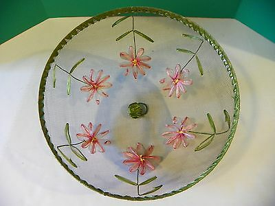 Rare hand embroidered floral screen dome cake cover