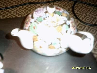 JAPANESE TEASET pot & 4 cups with lids in perfect condition