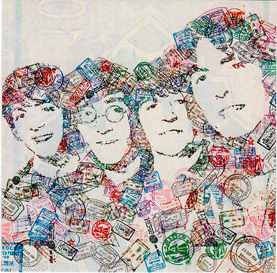 INTERESTING MODERN postcard BEATLES' PORTRAIT MADE WITH POSTAL AND HOTEL STAMPS