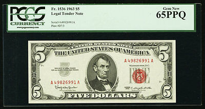 """$5 1963 Legal Tender Notes """" 2 Consecutive Number """" PCGS 65 PPQ Gem New"""