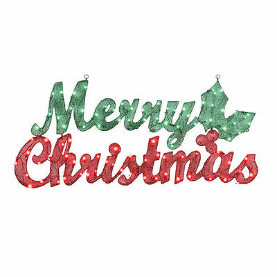 Large Lighted Merry Christmas 44''   Sign   Holly  Berries New Outdoor Lights