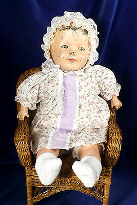 "Sweet ANTIQUE 19"" TIN HEAD BABY DOLL COMPO LIMBS Metal Sleep Eyes Cloth Body"