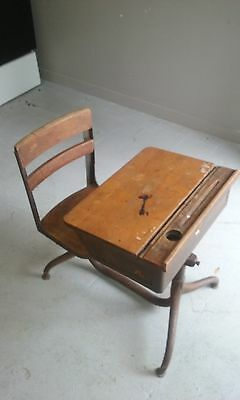 Vintage 1930's,40's School Desk w/Ink Well Solid Wood Box & Chair Steel Frame