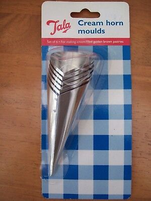 Set Of 6 X Tala Cream Horn Moulds & Recipe New In Pack